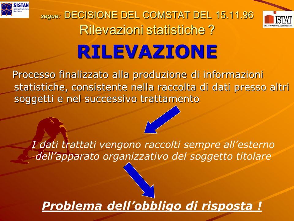 segue: DECISIONE DEL COMSTAT DEL 15.11.96 Rilevazioni statistiche ? RILEVAZIONE Processo finalizzato alla produzione di informazioni statistiche, cons