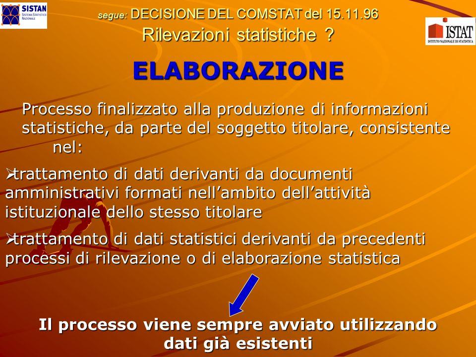 segue: DECISIONE DEL COMSTAT del 15.11.96 Rilevazioni statistiche ? ELABORAZIONE Processo finalizzato alla produzione di informazioni Processo finaliz
