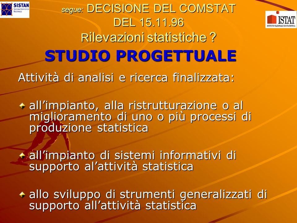 segue: DECISIONE DEL COMSTAT DEL 15.11.96 R ilevazioni statistiche .