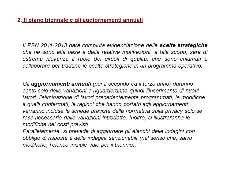 2. Il piano triennale e gli aggiornamenti annuali Il PSN 2011-2013 darà compiuta evidenziazione delle scelte strategiche che ne sono alla base e delle
