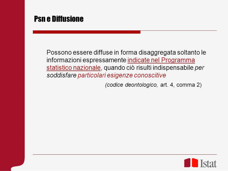 Psn e Diffusione Possono essere diffuse in forma disaggregata soltanto le informazioni espressamente indicate nel Programma statistico nazionale, quando ciò risulti indispensabile per soddisfare particolari esigenze conoscitive (codice deontologico, art.