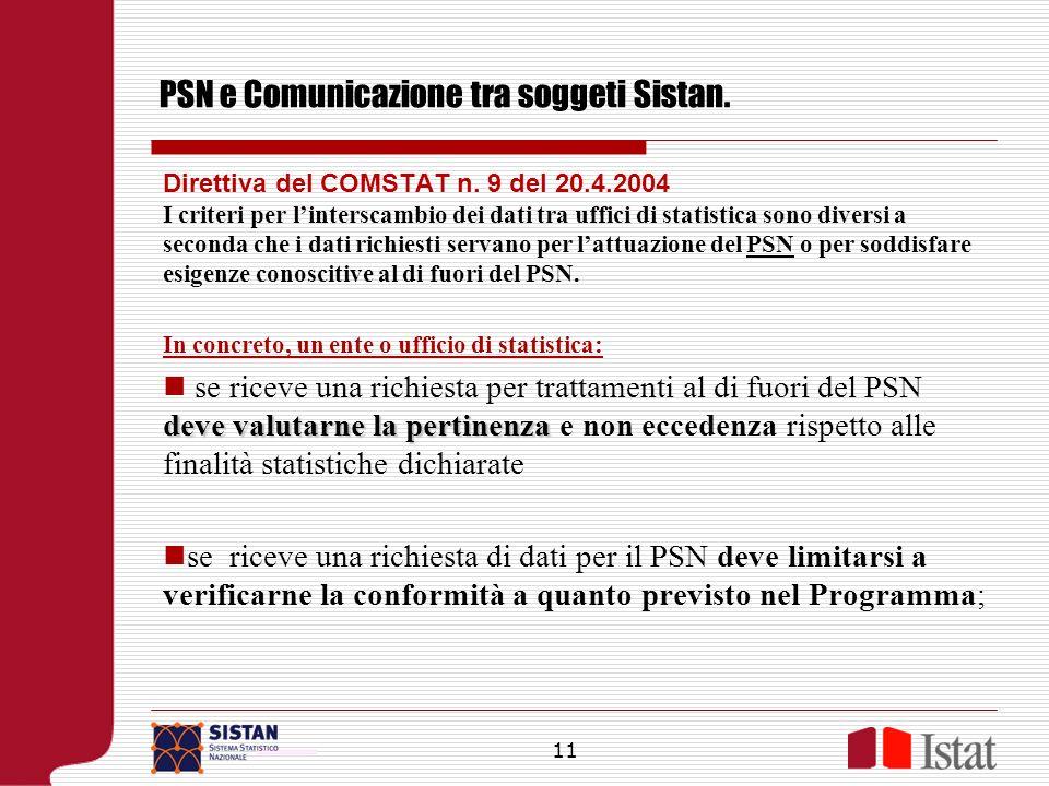 PSN e Comunicazione tra soggeti Sistan. Direttiva del COMSTAT n. 9 del 20.4.2004 I criteri per linterscambio dei dati tra uffici di statistica sono di