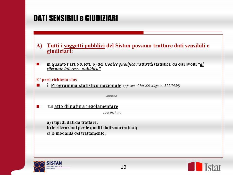 DATI SENSIBILI e GIUDIZIARI Tutti i soggetti pubblici del Sistan possono trattare dati sensibili e giudiziari: in quanto lart. 98, lett. b) del Codice