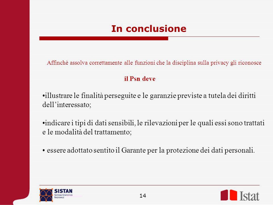 14 Affinchè assolva correttamente alle funzioni che la disciplina sulla privacy gli riconosce il Psn deve illustrare le finalità perseguite e le garan