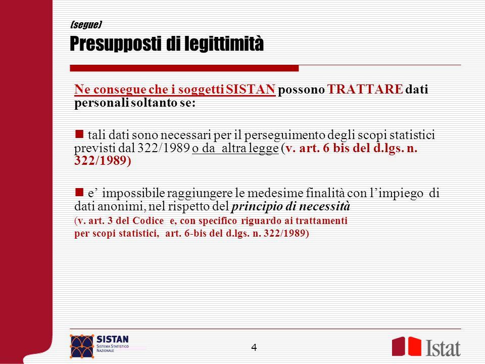 (segue) Presupposti di legittimità Ne consegue che i soggetti SISTAN possono TRATTARE dati personali soltanto se: tali dati sono necessari per il pers