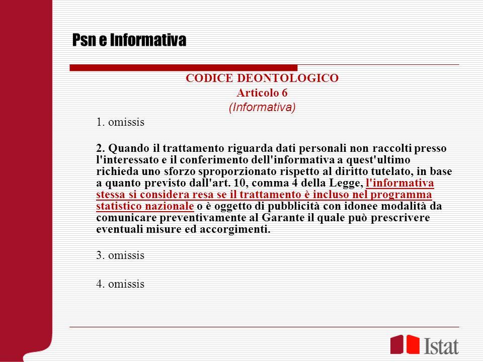 Psn e Informativa CODICE DEONTOLOGICO Articolo 6 (Informativa) 1. omissis 2. Quando il trattamento riguarda dati personali non raccolti presso l'inter