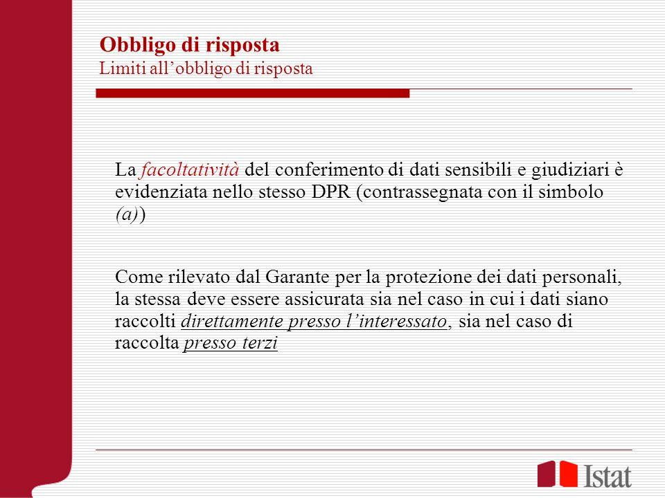 Obbligo di risposta Limiti allobbligo di risposta La facoltatività del conferimento di dati sensibili e giudiziari è evidenziata nello stesso DPR (con