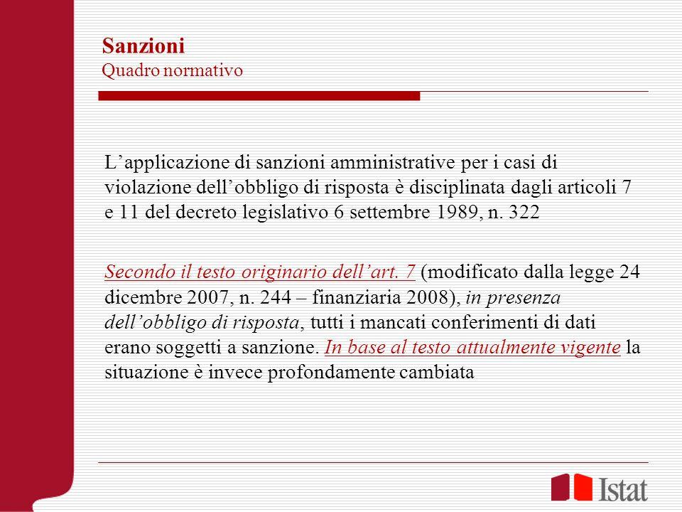 Sanzioni Quadro normativo Lapplicazione di sanzioni amministrative per i casi di violazione dellobbligo di risposta è disciplinata dagli articoli 7 e
