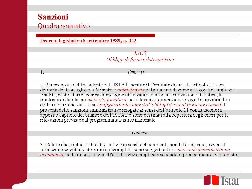 Sanzioni Quadro normativo Decreto legislativo 6 settembre 1989, n. 322 Art. 7 Obbligo di fornire dati statistici 1. Omissis ….Su proposta del Presiden