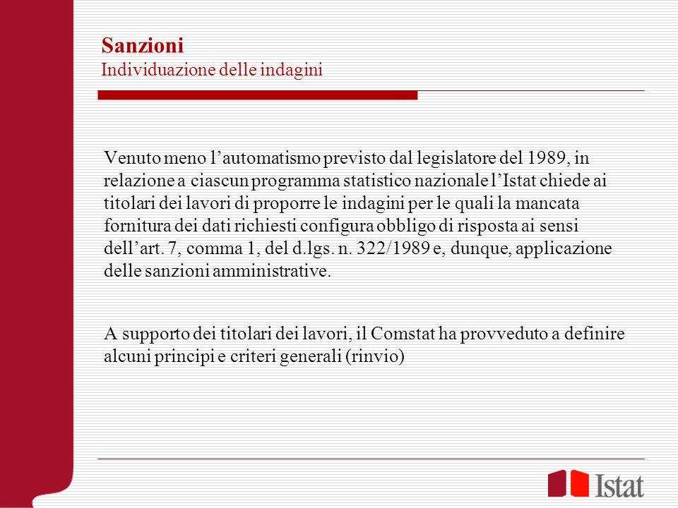 Sanzioni Individuazione delle indagini Venuto meno lautomatismo previsto dal legislatore del 1989, in relazione a ciascun programma statistico naziona