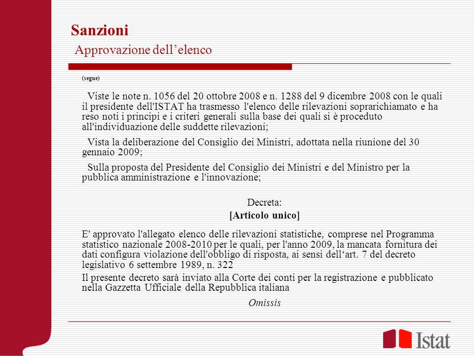 Sanzioni Approvazione dellelenco (segue) Viste le note n. 1056 del 20 ottobre 2008 e n. 1288 del 9 dicembre 2008 con le quali il presidente dell'ISTAT