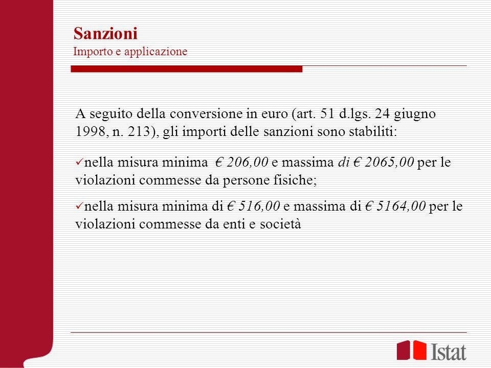 Sanzioni Importo e applicazione A seguito della conversione in euro (art. 51 d.lgs. 24 giugno 1998, n. 213), gli importi delle sanzioni sono stabiliti