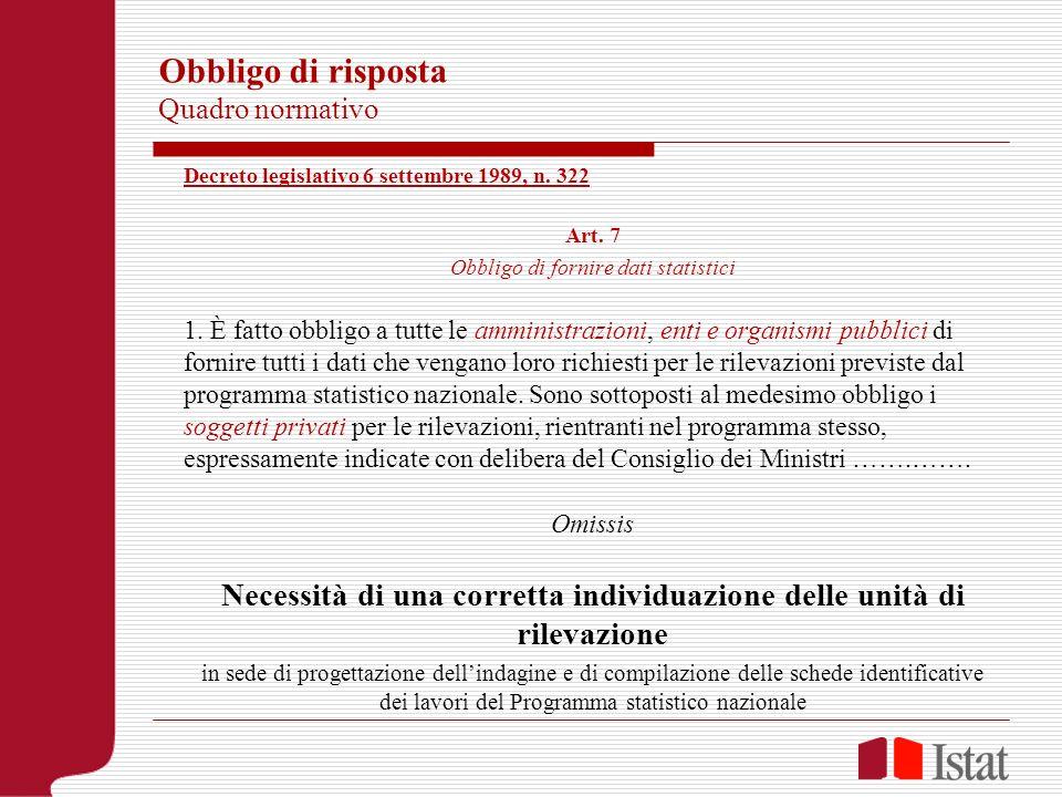 Obbligo di risposta Quadro normativo Decreto legislativo 6 settembre 1989, n. 322 Art. 7 Obbligo di fornire dati statistici 1. È fatto obbligo a tutte