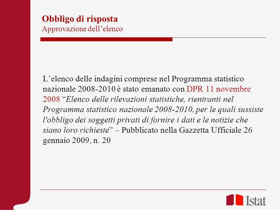 Obbligo di risposta Approvazione dellelenco Lelenco delle indagini comprese nel Programma statistico nazionale 2008-2010 è stato emanato con DPR 11 no