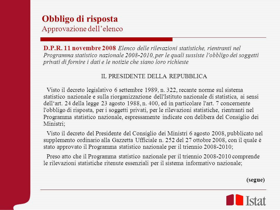 Obbligo di risposta Approvazione dellelenco D.P.R. 11 novembre 2008 Elenco delle rilevazioni statistiche, rientranti nel Programma statistico nazional