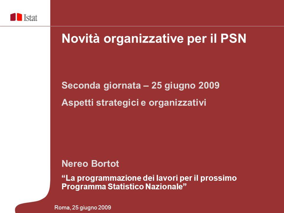 Nereo Bortot La programmazione dei lavori per il prossimo Programma Statistico Nazionale Seconda giornata – 25 giugno 2009 Aspetti strategici e organizzativi Novità organizzative per il PSN Roma, 25 giugno 2009