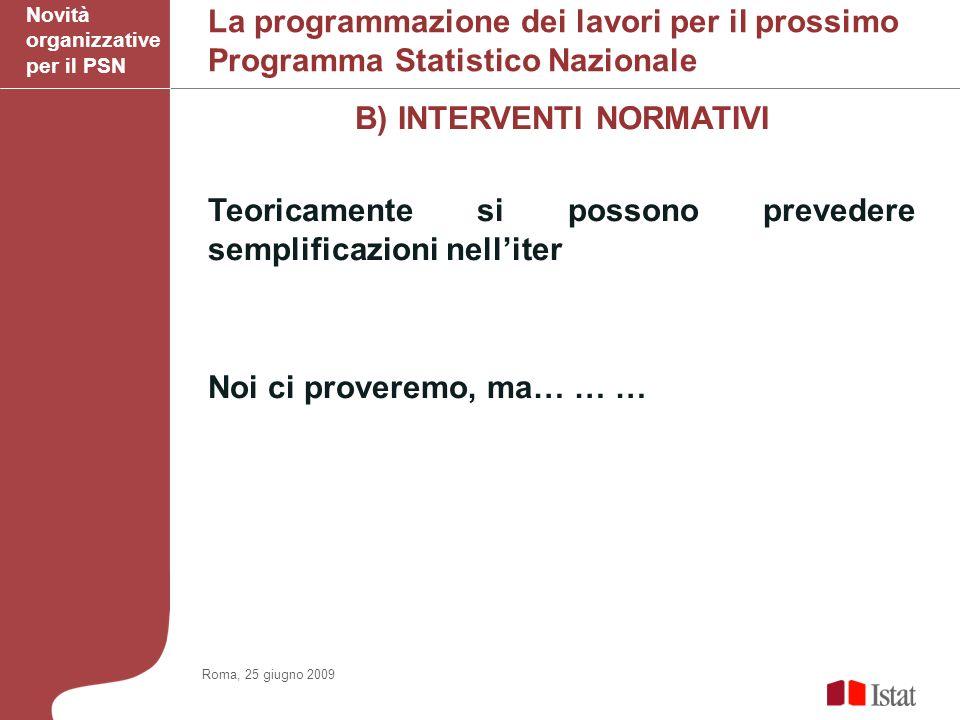 La programmazione dei lavori per il prossimo Programma Statistico Nazionale B) INTERVENTI NORMATIVI Teoricamente si possono prevedere semplificazioni nelliter Noi ci proveremo, ma… … … Novità organizzative per il PSN Roma, 25 giugno 2009
