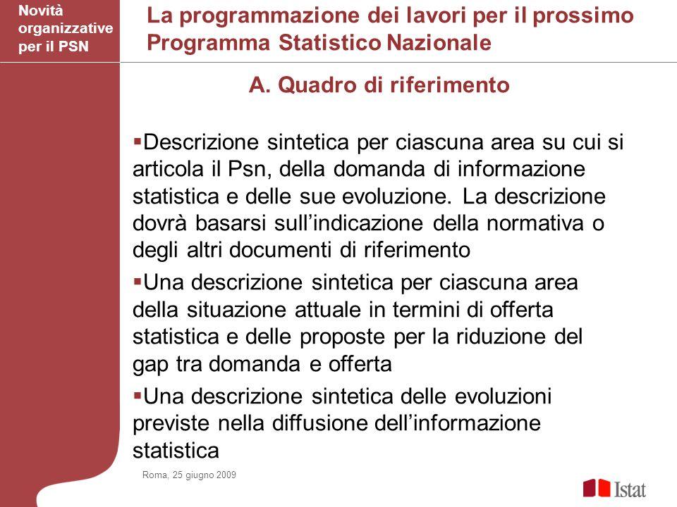 La programmazione dei lavori per il prossimo Programma Statistico Nazionale A.