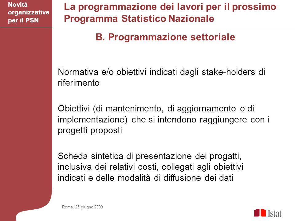 La programmazione dei lavori per il prossimo Programma Statistico Nazionale B.