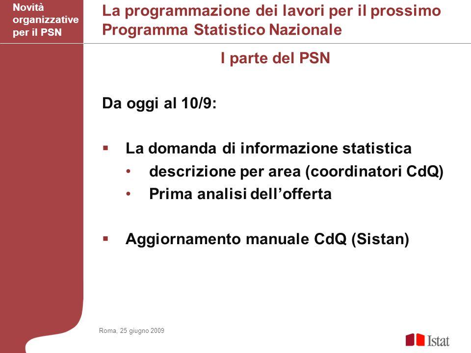 La programmazione dei lavori per il prossimo Programma Statistico Nazionale I parte del PSN Da oggi al 10/9: La domanda di informazione statistica descrizione per area (coordinatori CdQ) Prima analisi dellofferta Aggiornamento manuale CdQ (Sistan) Novità organizzative per il PSN Roma, 25 giugno 2009