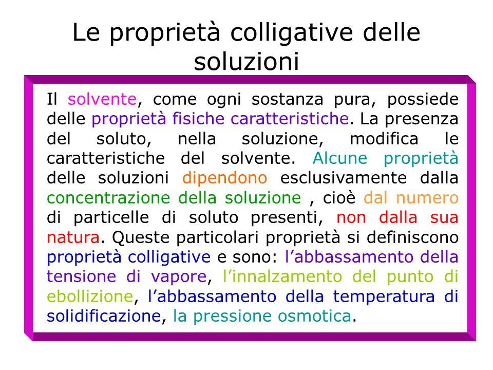 Le proprietà colligative delle soluzioni Il solvente, come ogni sostanza pura, possiede delle proprietà fisiche caratteristiche. La presenza del solut
