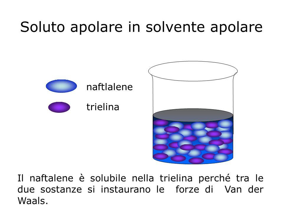 Soluto apolare in solvente apolare naftlalene trielina Il naftalene è solubile nella trielina perché tra le due sostanze si instaurano le forze di Van
