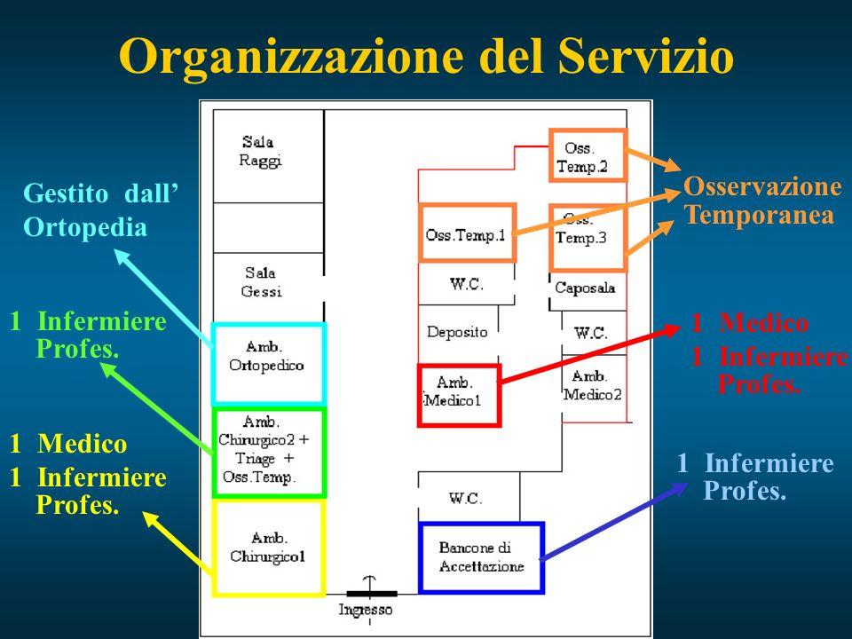 Organizzazione del Servizio 1 Medico 1 Infermiere Profes. 1 Medico 1 Infermiere Profes. Osservazione Temporanea 1 Infermiere Profes. Gestito dall Orto