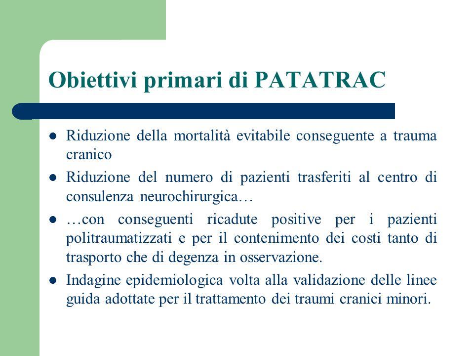 Obiettivi primari di PATATRAC Riduzione della mortalità evitabile conseguente a trauma cranico Riduzione del numero di pazienti trasferiti al centro d
