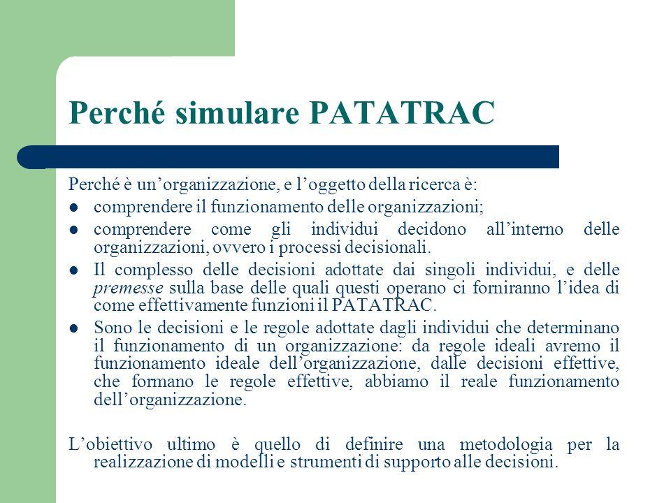 Perché simulare PATATRAC Perché è unorganizzazione, e loggetto della ricerca è: comprendere il funzionamento delle organizzazioni; comprendere come gl