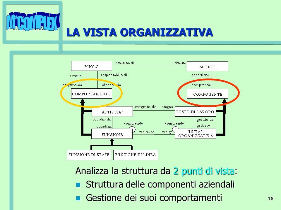 M*COMPLEX 18 LA VISTA ORGANIZZATIVA Analizza la struttura da 2 punti di vista: n Struttura delle componenti aziendali n Gestione dei suoi comportament