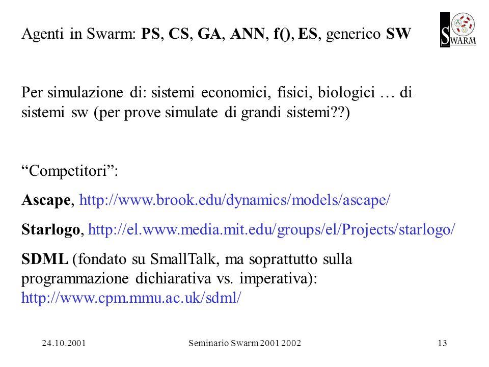 24.10.2001Seminario Swarm 2001 200213 Agenti in Swarm: PS, CS, GA, ANN, f(), ES, generico SW Per simulazione di: sistemi economici, fisici, biologici … di sistemi sw (per prove simulate di grandi sistemi ) Competitori: Ascape, http://www.brook.edu/dynamics/models/ascape/ Starlogo, http://el.www.media.mit.edu/groups/el/Projects/starlogo/ SDML (fondato su SmallTalk, ma soprattutto sulla programmazione dichiarativa vs.