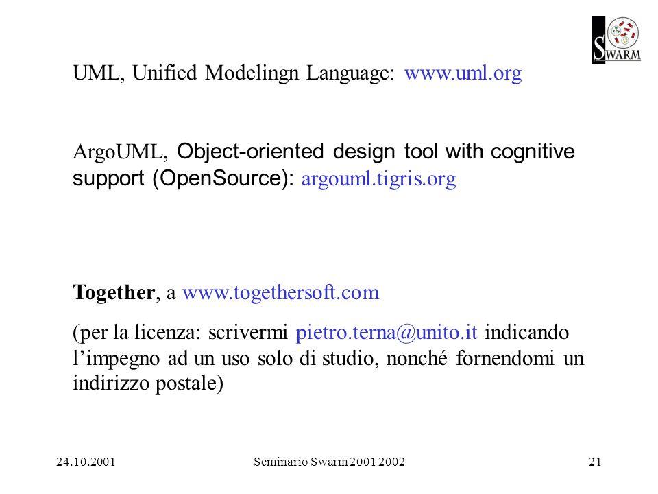 24.10.2001Seminario Swarm 2001 200221 Together, a www.togethersoft.com (per la licenza: scrivermi pietro.terna@unito.it indicando limpegno ad un uso solo di studio, nonché fornendomi un indirizzo postale) UML, Unified Modelingn Language: www.uml.org ArgoUML, Object-oriented design tool with cognitive support (OpenSource): argouml.tigris.org