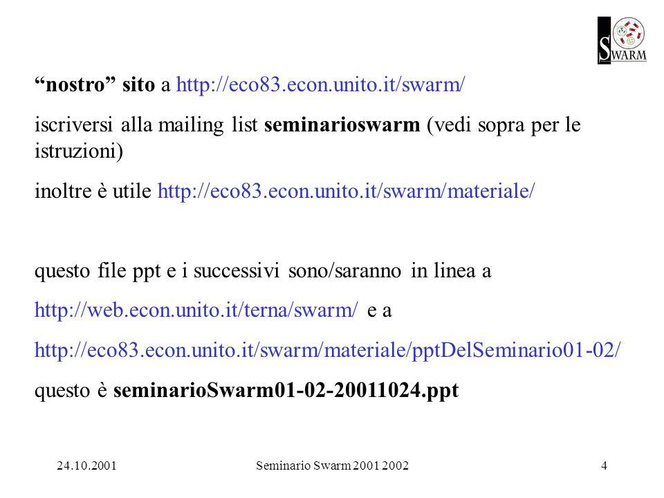 24.10.2001Seminario Swarm 2001 20024 nostro sito a http://eco83.econ.unito.it/swarm/ iscriversi alla mailing list seminarioswarm (vedi sopra per le istruzioni) inoltre è utile http://eco83.econ.unito.it/swarm/materiale/ questo file ppt e i successivi sono/saranno in linea a http://web.econ.unito.it/terna/swarm/ e a http://eco83.econ.unito.it/swarm/materiale/pptDelSeminario01-02/ questo è seminarioSwarm01-02-20011024.ppt