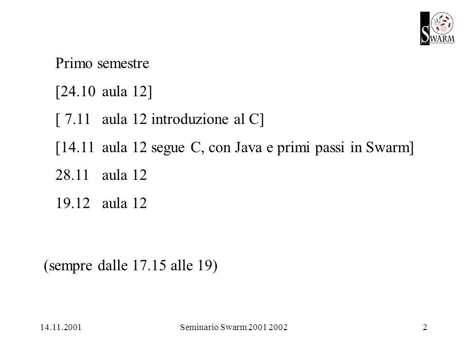 14.11.2001Seminario Swarm 2001 20023 nostro sito a http://eco83.econ.unito.it/swarm/ iscriversi alla mailing list seminarioswarm (vedi sopra per le istruzioni) inoltre è utile http://eco83.econ.unito.it/swarm/materiale/ questo file ppt e i successivi sono/saranno in linea a http://web.econ.unito.it/terna/swarm/ e a http://eco83.econ.unito.it/swarm/materiale/pptDelSeminario01-02/ questo è seminarioSwarm01-02-20011114.ppt