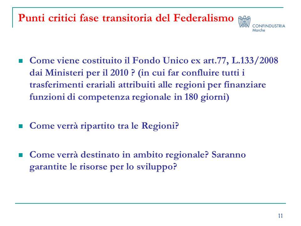 11 Punti critici fase transitoria del Federalismo Come viene costituito il Fondo Unico ex art.77, L.133/2008 dai Ministeri per il 2010 ? (in cui far c