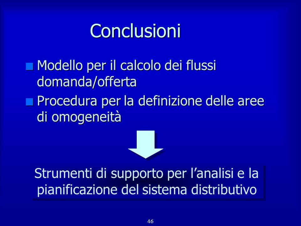 46 Conclusioni n Modello per il calcolo dei flussi domanda/offerta n Procedura per la definizione delle aree di omogeneità Strumenti di supporto per l