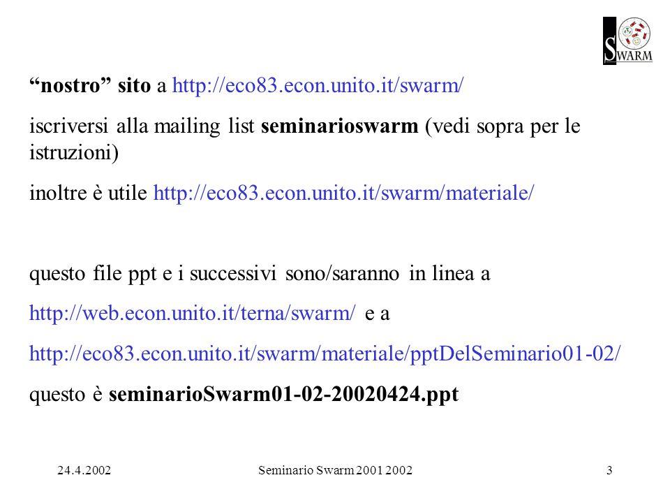 24.4.2002Seminario Swarm 2001 20023 nostro sito a http://eco83.econ.unito.it/swarm/ iscriversi alla mailing list seminarioswarm (vedi sopra per le istruzioni) inoltre è utile http://eco83.econ.unito.it/swarm/materiale/ questo file ppt e i successivi sono/saranno in linea a http://web.econ.unito.it/terna/swarm/ e a http://eco83.econ.unito.it/swarm/materiale/pptDelSeminario01-02/ questo è seminarioSwarm01-02-20020424.ppt