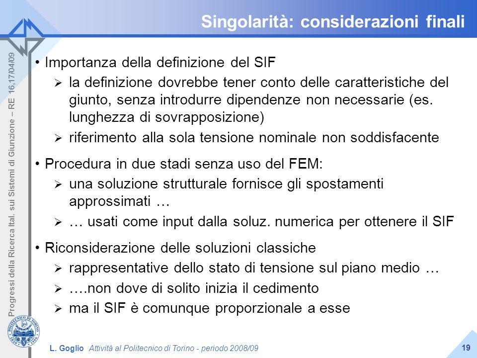 L. Goglio Attività al Politecnico di Torino - periodo 2008/09 Progressi della Ricerca Ital. sui Sistemi di Giunzione – RE 16,17/04/09 19 Singolarità: