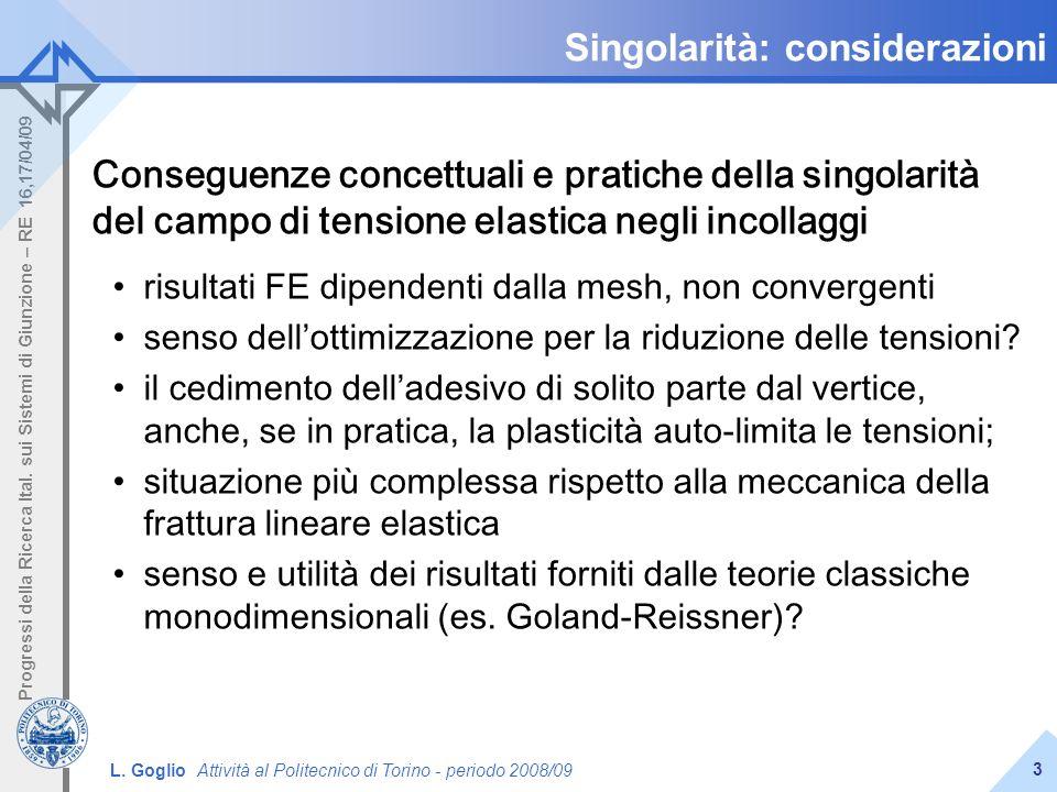 L. Goglio Attività al Politecnico di Torino - periodo 2008/09 Progressi della Ricerca Ital. sui Sistemi di Giunzione – RE 16,17/04/09 3 Singolarità: c