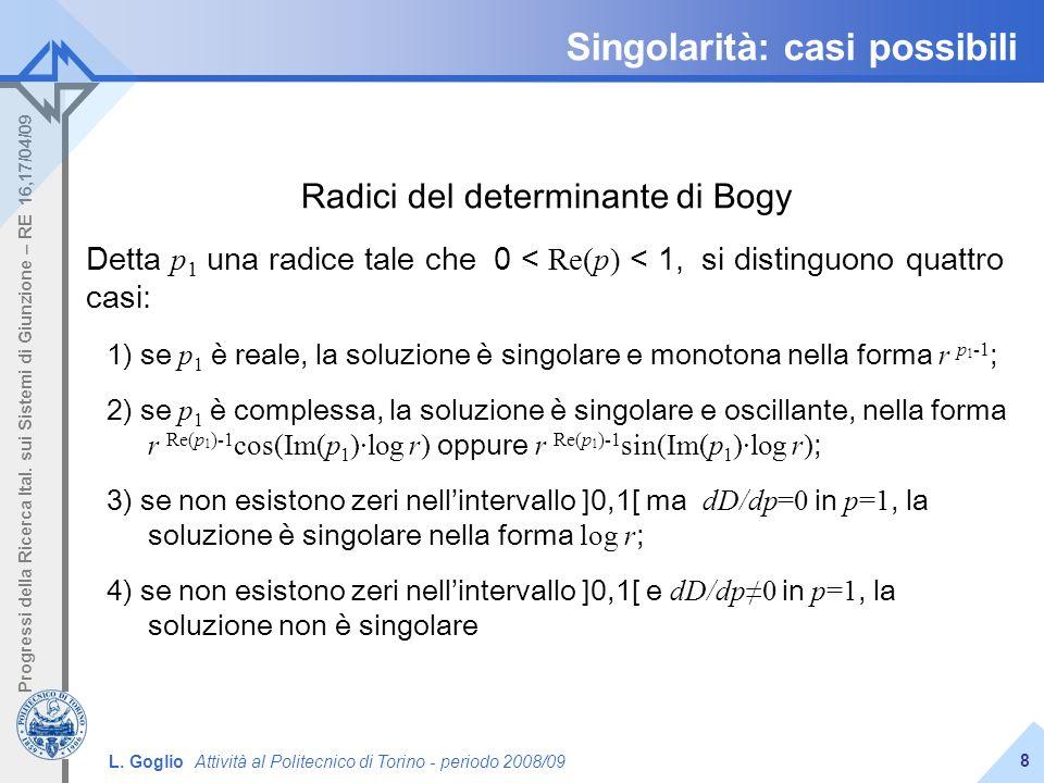 L. Goglio Attività al Politecnico di Torino - periodo 2008/09 Progressi della Ricerca Ital. sui Sistemi di Giunzione – RE 16,17/04/09 8 Singolarità: c