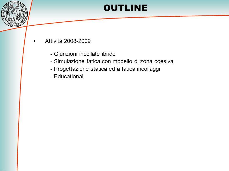 - Giunzioni incollate ibride - Simulazione fatica con modello di zona coesiva - Progettazione statica ed a fatica incollaggi - Educational Attività 20