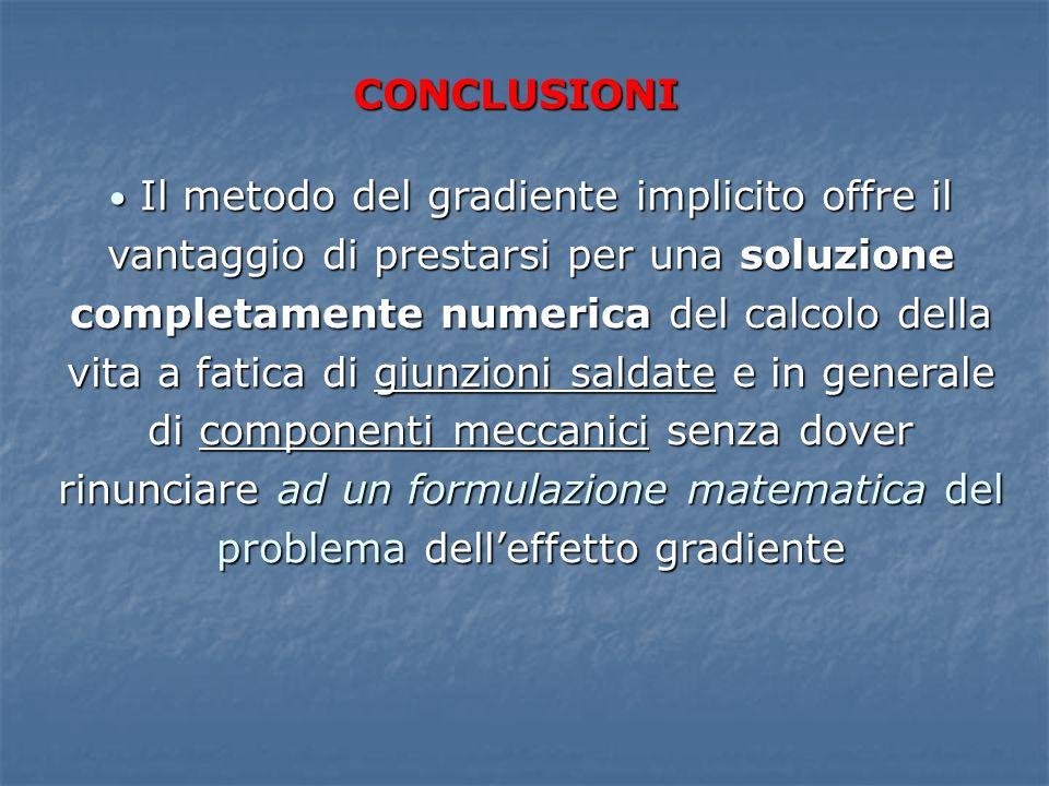 CONCLUSIONI Il metodo del gradiente implicito offre il vantaggio di prestarsi per una soluzione completamente numerica del calcolo della vita a fatica