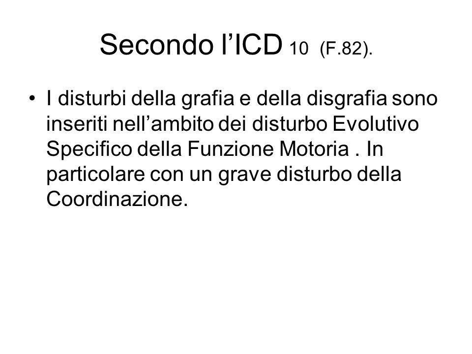 Secondo lICD 10 (F.82). I disturbi della grafia e della disgrafia sono inseriti nellambito dei disturbo Evolutivo Specifico della Funzione Motoria. In
