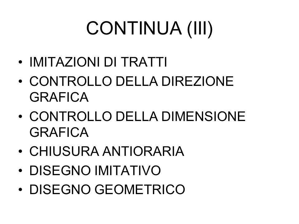 CONTINUA (III) IMITAZIONI DI TRATTI CONTROLLO DELLA DIREZIONE GRAFICA CONTROLLO DELLA DIMENSIONE GRAFICA CHIUSURA ANTIORARIA DISEGNO IMITATIVO DISEGNO