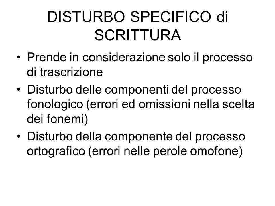 DISTURBO SPECIFICO di SCRITTURA Prende in considerazione solo il processo di trascrizione Disturbo delle componenti del processo fonologico (errori ed