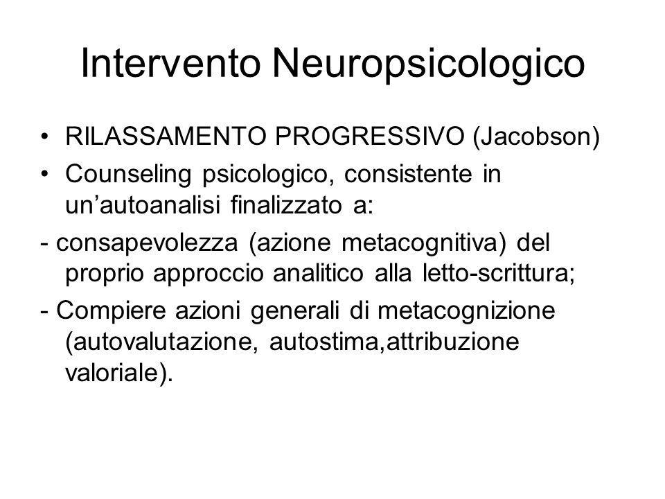 Intervento Neuropsicologico RILASSAMENTO PROGRESSIVO (Jacobson) Counseling psicologico, consistente in unautoanalisi finalizzato a: - consapevolezza (