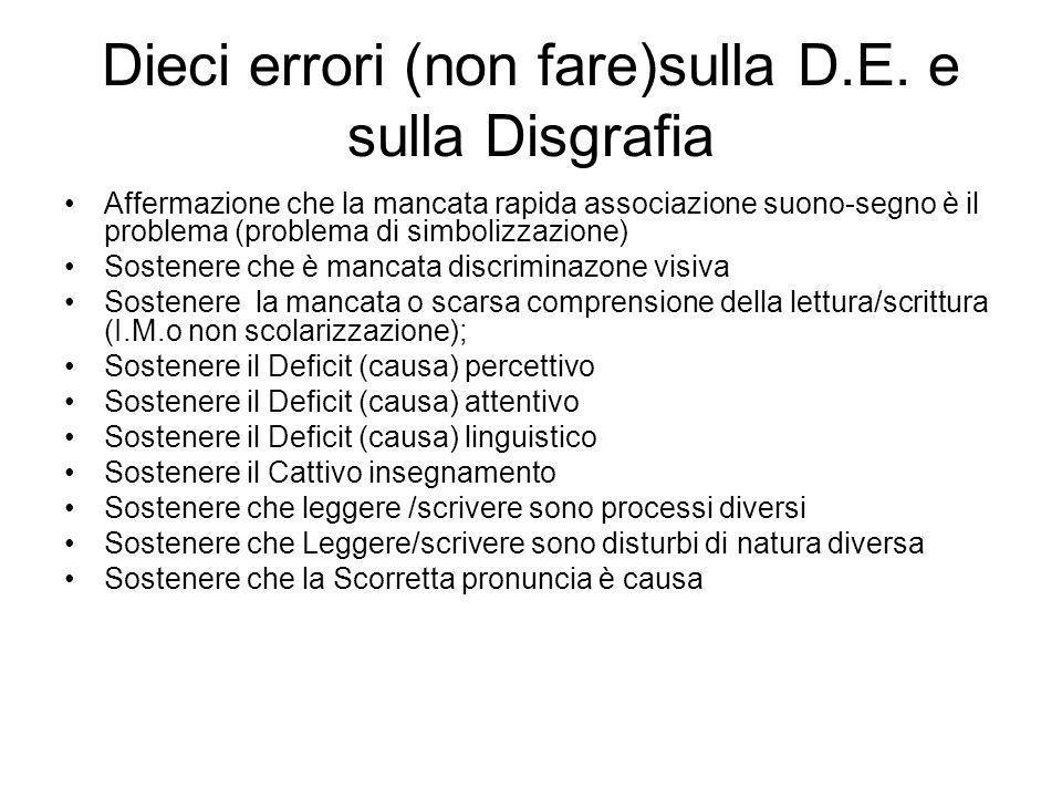 Dieci errori (non fare)sulla D.E. e sulla Disgrafia Affermazione che la mancata rapida associazione suono-segno è il problema (problema di simbolizzaz
