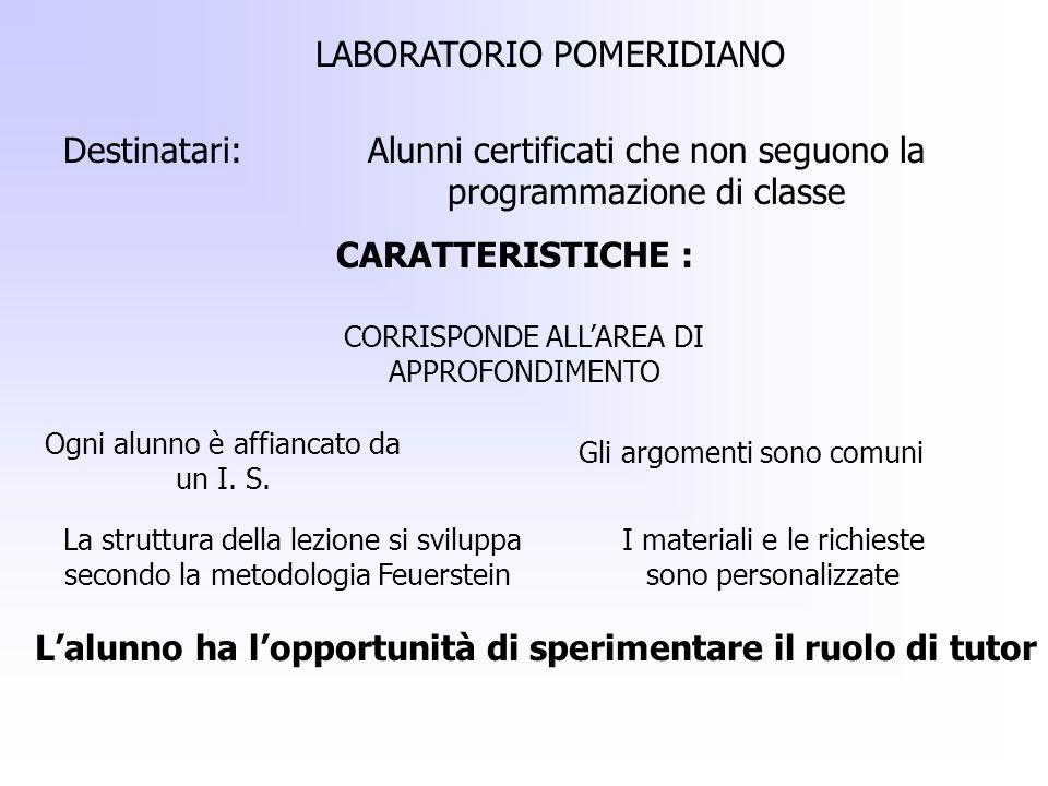 LABORATORIO POMERIDIANO Destinatari:Alunni certificati che non seguono la programmazione di classe CARATTERISTICHE : CORRISPONDE ALLAREA DI APPROFONDI