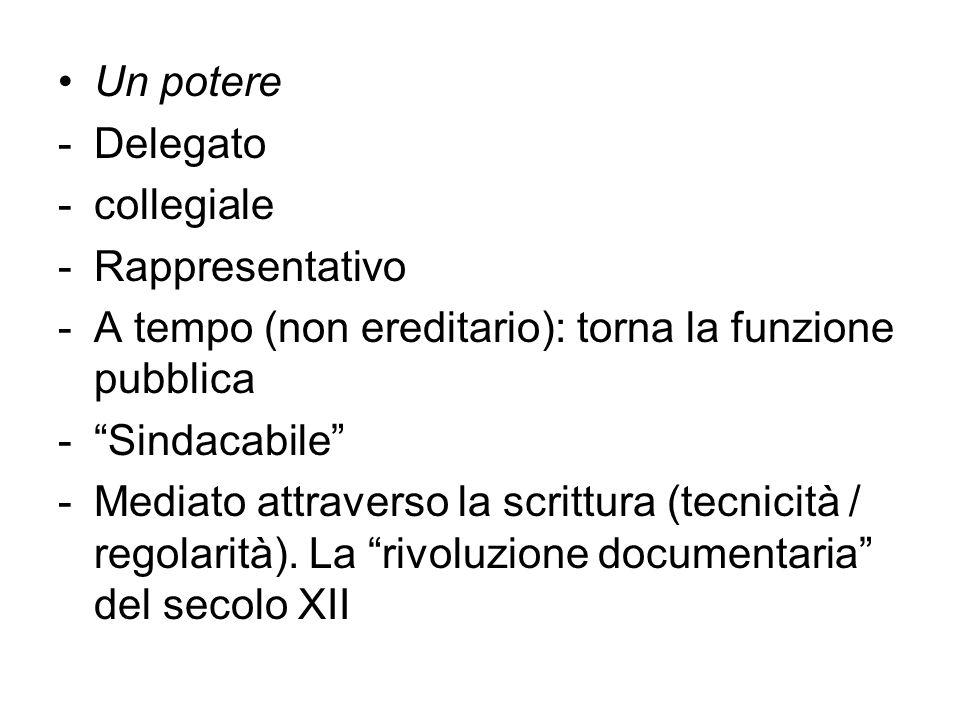 Un potere -Delegato -collegiale -Rappresentativo -A tempo (non ereditario): torna la funzione pubblica -Sindacabile -Mediato attraverso la scrittura (tecnicità / regolarità).