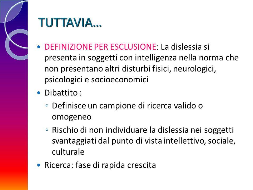 TUTTAVIA… DEFINIZIONE PER ESCLUSIONE La dislessia si presenta in soggetti con intelligenza nella norma che non presentano altri disturbi fisici, neuro